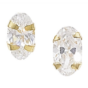 9ct Gold small Oval cut cubic zirconia stud earrings